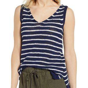 Caslon BNWT navy blue white striped knit tank L